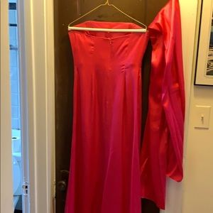 Tiffany Designs Dresses - Hot pink, strapless, formal dress with shawl.